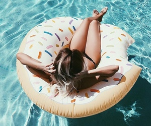 donut, girl, and summer image