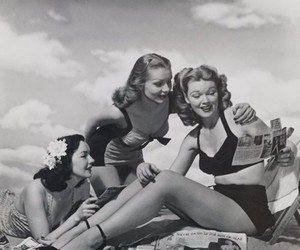 vintage, beach, and black and white image