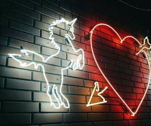 unicorn, heart, and neon image