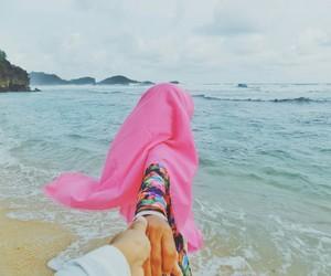 beach, hijab, and islam image