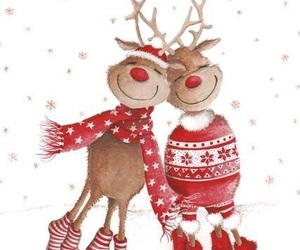 couple, deer, and merry christmas image