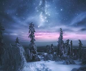 snow, sky, and stars image