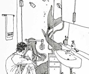 draw, mermaid, and shower image