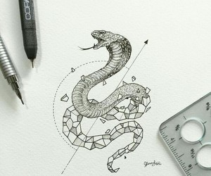 art, drawing, and snake image