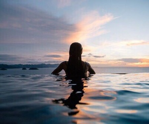 sunset and beautiful sea girl image