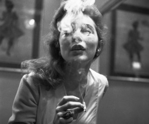 smoke, black and white, and girl image