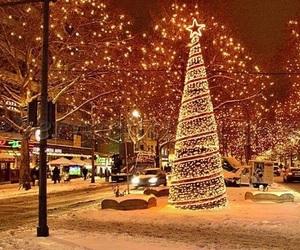 christmas, snow, and city image