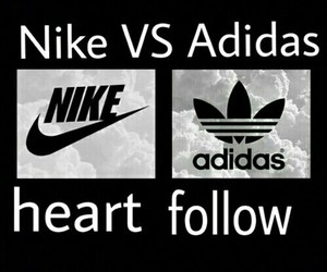 nike, adidas, and follow image