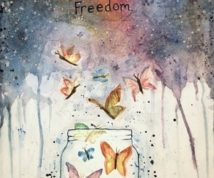 freedom, butterfly, and art image