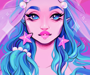 blue, mermaids, and pink image