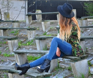 black hat, hairstyle, and ombre image