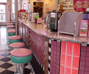 pink, 50s, and diner image