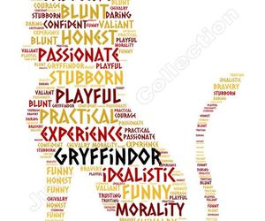 word cloud, gryffindor lion, and etsy image
