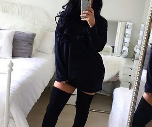 black, boots, and curvy image