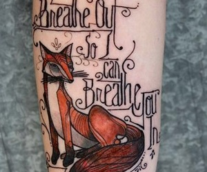 fox, ink, and pretty image