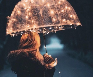 light, girl, and umbrella image