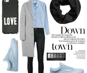 blue, coat, and grey image