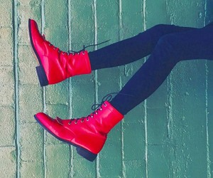 red boots, black skinny jeans, and red combat boots image