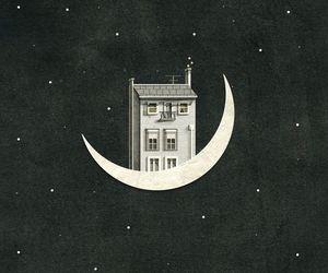 moon, gif, and art image