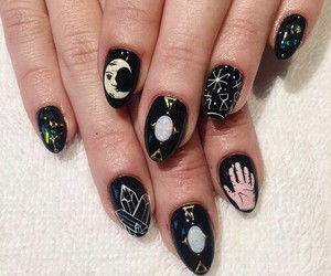 nails, black, and moon image