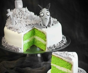cake, green, and black and white . image