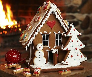 christmas, food, and gingerbread house image
