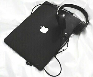 black, apple, and headphones image