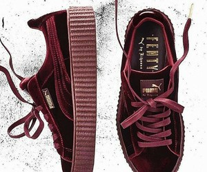 puma sneakers, velvet sneakers, and burgundy sneakers image