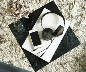 black and white, flowers, and headphones image