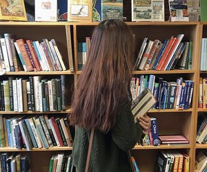 girl, book, and library image
