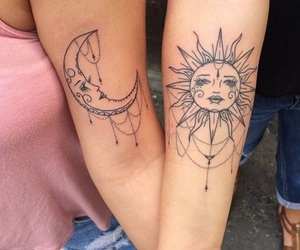 sun, tattoo, and moon image
