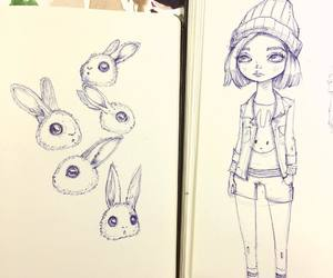 art, bunnies, and doll image