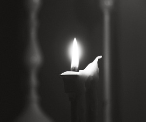 black and white, candle, and flame image
