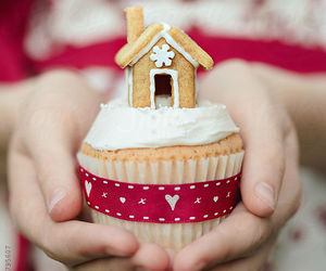 gingerbread house, hands, and christmas cupcake image