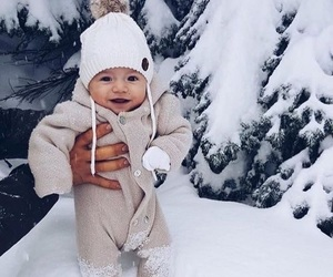 baby, snow, and fashion image