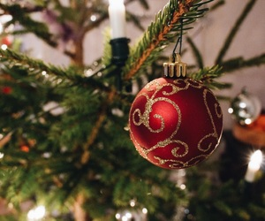 bauble, christmas tree, and holiday image
