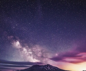 galaxy, mountains, and beautiful image