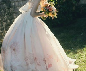 dress, wedding, and flowers image