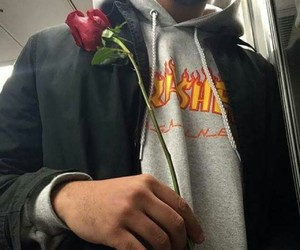rose, boy, and aesthetic image