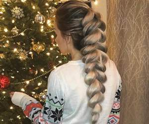 hair, braid, and christmas image