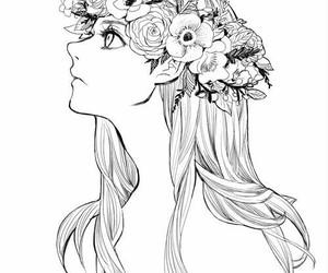 girl, flowers, and anime image