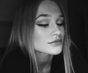 blacknwhite, eyebrow, and sad image