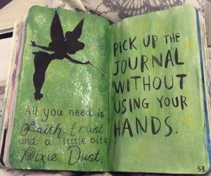 drawing, journal, and tinker bell image