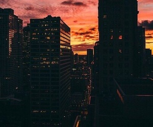 city, sunset, and sky image