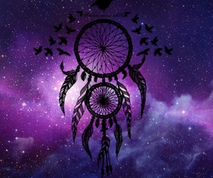 galaxy, dream catcher, and purple image