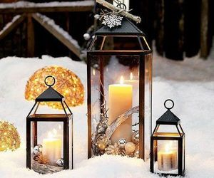 lantern, candle, and winter image