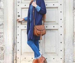 boots, ootd, and hijab image