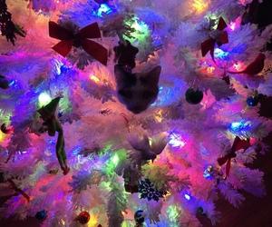 cat, xmas, and christmas tree image