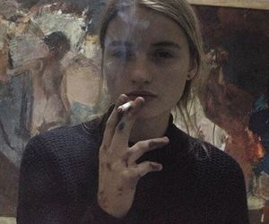 girl, smoke, and art image