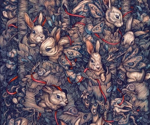 bunny, butterfly, and pattern image